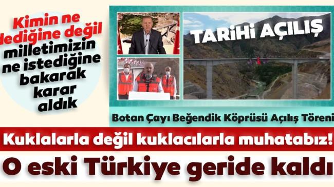 Son dakika: Başkan Erdoğan'ın canlı yayın katılımıyla Türkiye'nin en yüksek köprüsü 'Beğendik Köprüsü' açıldı!